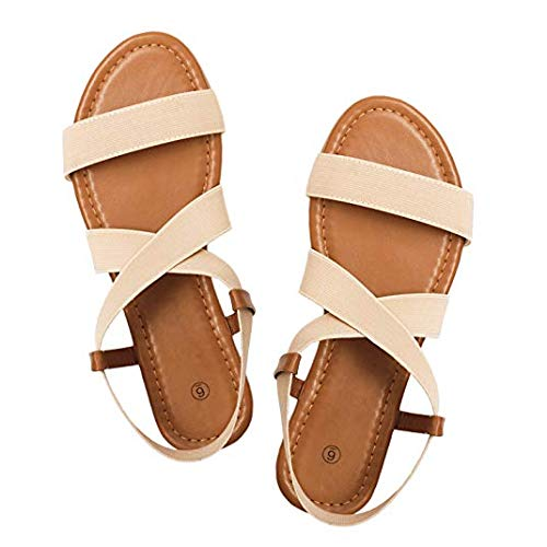 Rekayla Flat Elastic Sandals for Women White 05