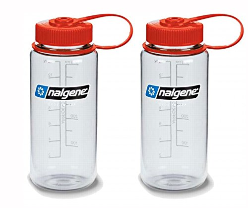 Nalgene W/M 16oz Bottle (Set of 2 Clear/Red Lid, 16 oz, 2 Count) (Lexan Water Bottle)