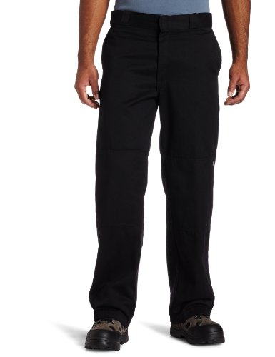 Dickies Men's Big and Tall Loose Fit Double Knee Twill Work Pant, Black, 44W x 30L