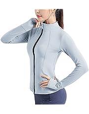 Flygo Women's Full Zip Lightweight Workout Running Yoga Jacket With Thumb Holes