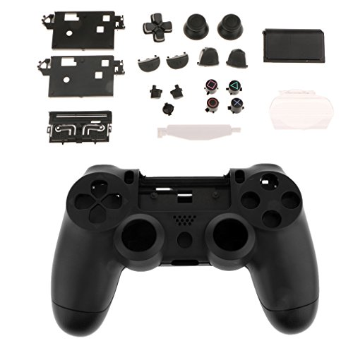 (gazechimp Replacement Parts Full Housing Shell Case Cover Buttons Set Kit for Sony PS4 Pro Controller Accessories All-in-one - Black)