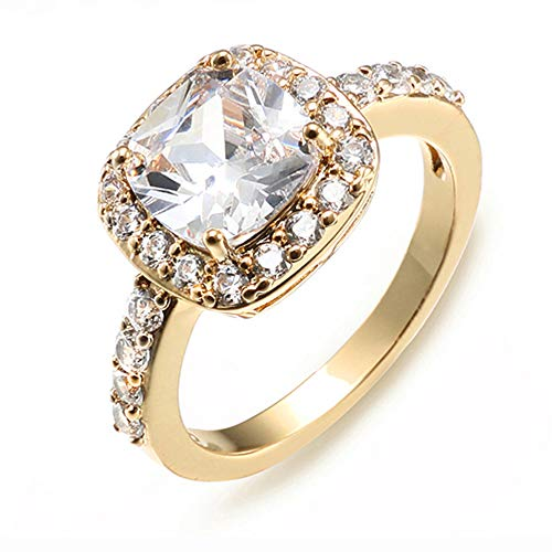 Impression Collection Square Rings Wedding Party Statement CZ Cocktail Gold Plated Classic Fashion Size 4-12 (Gold Clear, 7) (Women Gold Rings Size 7)
