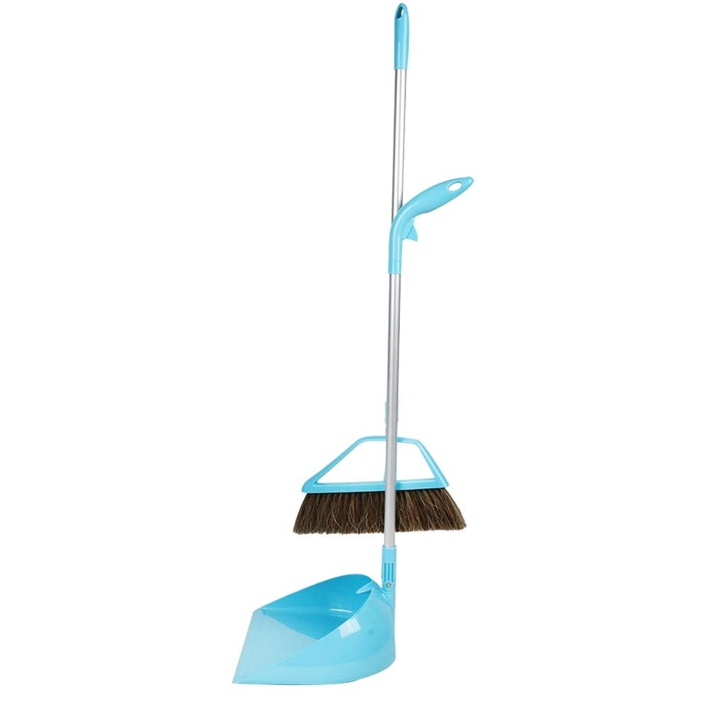 Rotatable Foldable Non-stick Hair Broom And Dustpan Extra Long Handle Multi-Function Non-Slip Handle Broom Set Home Kitchen Office Lobby Floor Cleaning Tools (Color : Blue) by HUABEI