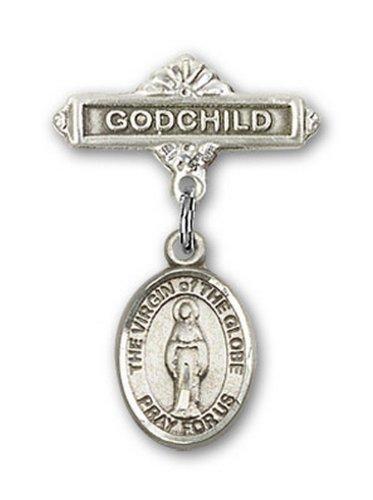 Icecarats Créatrice De Bijoux En Argent Sterling Vierge Du Charme Globe Filleul Broche De Badge 1 X 5/8