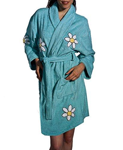 Aegean Apparel Daisy Floral Applique Women's Short Bathrobe, Turquoise, One - Apparel Aegean