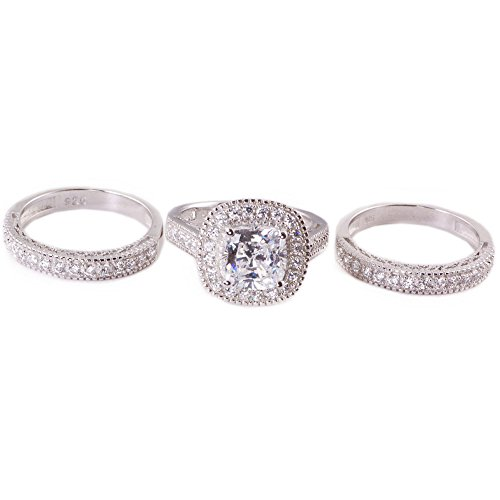 His & Hers 4pc Matching Halo Cushion Cut Cz Bridal Engagement Wedding Ring Set .925 Sterling Silver Size 5-13 (His 9 Her 8) by Sunee Jewelry And Gift (Image #4)