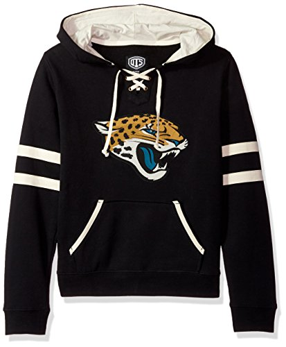 NFL Jacksonville Jaguars Women's OTS Grant Lace Up Pullover Hood, Jet Black, Medium