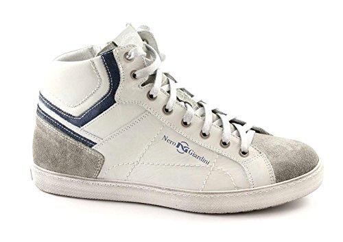 Giardini Sportive Bianco Nero Sneaker Uomo Zip 3330 Pelle Mid Scarpe dpvXZ7