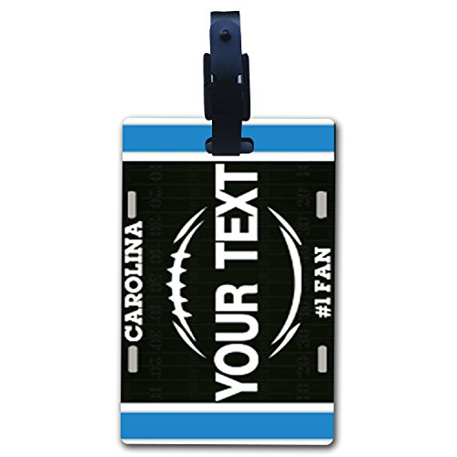 BleuReign(TM) Personalized Custom Name Football Carolina License Plate Luggage Tag with Strap
