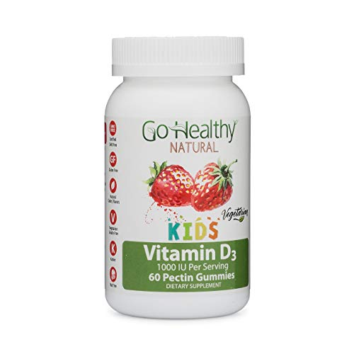 Go Healthy Natural Vitamin D3 Gummies for Kids, Vegetarian, Non-GMO, Gluten Free, Kosher, Halal-1000 IU Per Serving (60 ct)-60 Servings