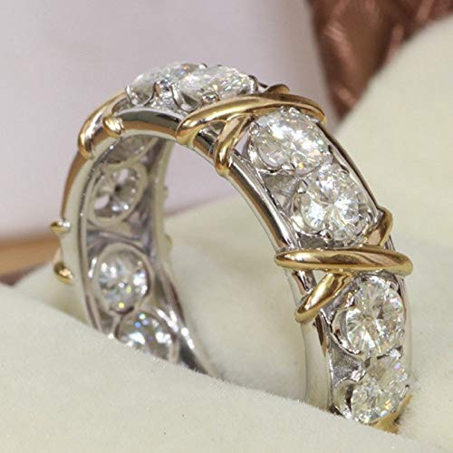 - Zircon Stone 10kt White Yellow Gold Filled Ring| Engagement Wedding Band Ring Size 5-11