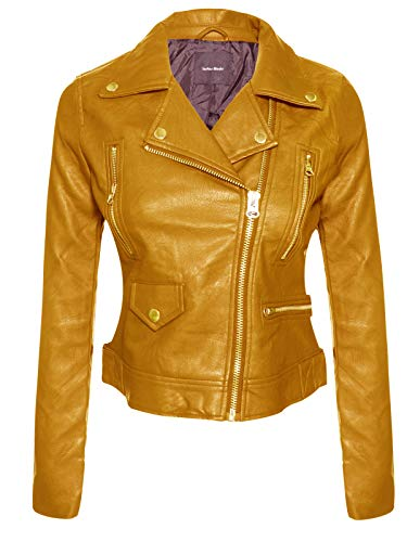 Instar Mode Women's Long Sleeve Zipper Closure Moto Biker Faux Leather Jacket Mustard S