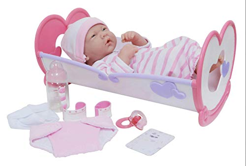 """JC Toys LA Newborn 10 Piece Deluxe Rocking Crib Gift Set, Featuring 14"""" Life-Like All Vinyl Smiling Baby Newborn Doll, Pink"""