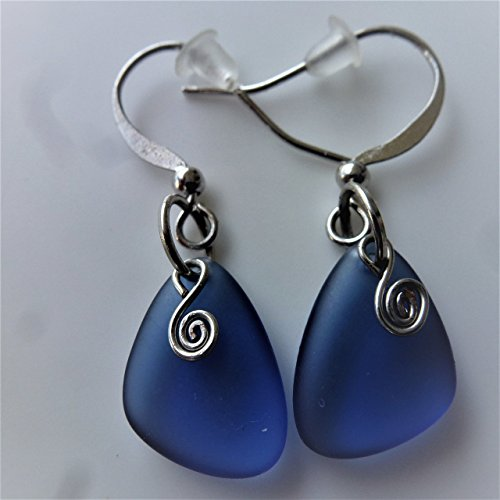 Blue sea glass earrings small 0.5 inch nautical ocean coast hawaiian foam beach prime handmade gift mermaid tears jewelry for women and girls Cyber Monday deal Christmas gift under $20