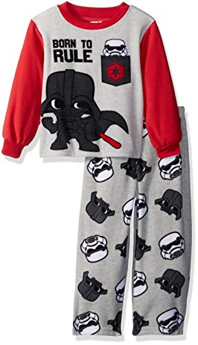 Star Wars Boys' Toddler Darth Vader 2-Piece Fleece Pajama Set, Ruler red, 3T ()
