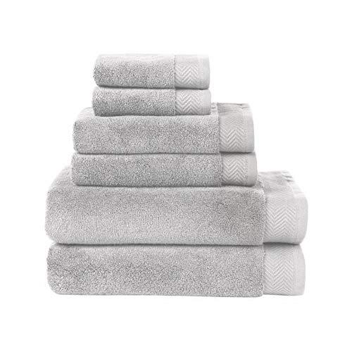 Ben Sherman Solid Ultra-Absorbent Plush Cotton Bath Towels, Set of 2 (Grey)