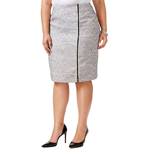 Kasper Women's Plus Size Tweed Skirt with Zipper, Grey Frost Multi, 14W