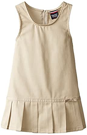 French Toast Little Girls' Toddler Pleated Hem Jumper with Ribbon, Khaki, 2T