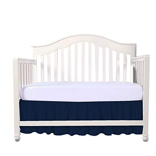 kirt Split Corner,Dust Ruffle 100% Cotton Nursery Crib Toddler Bedding Skirt for Baby Boys or Girls, 14
