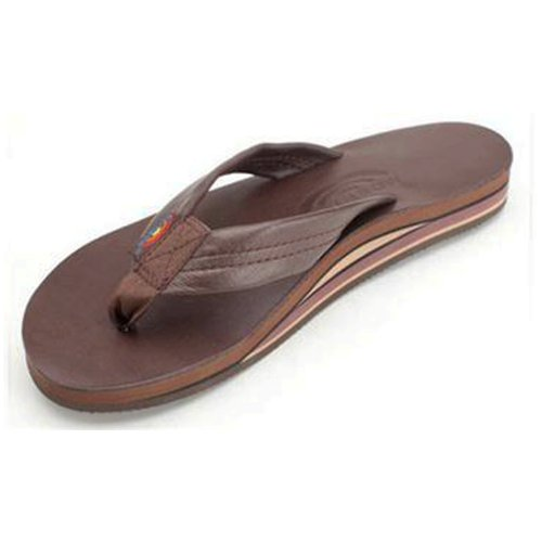 Leather 2 Strap Sandals (Rainbow Sandals Women's 2 Tone Leather Double Stack Wide Strap, Classic Mocha, X-Large (8.5-9.5))