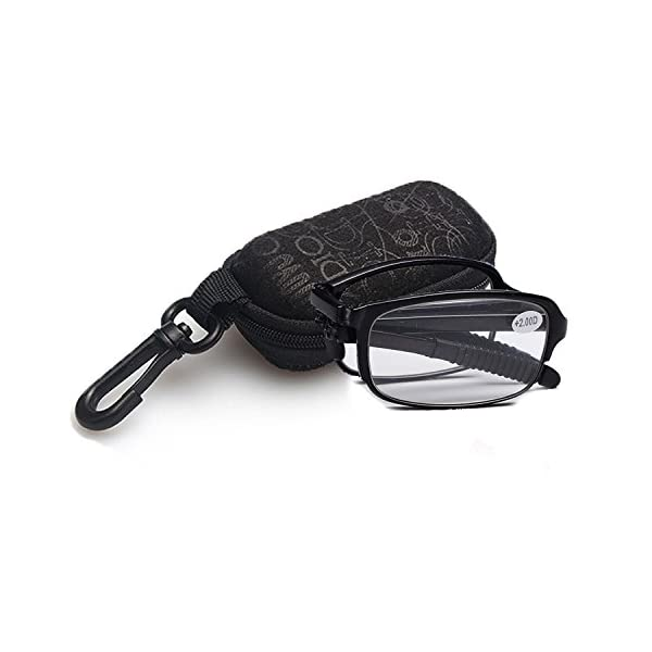 430ff303e49 BestWahl Mens Womens Folding Reading Glasses Home and Travel Telescopic Arms  Includes Case + Cloth +1.0 +1.5 +2.0 +2.5 +3.0 +3.5 +4.0 – Sexagenarian Plus