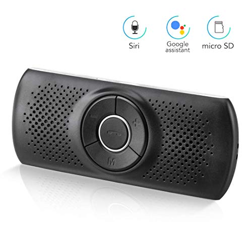 AGPTEK Bluetooth Car Speakerphone, Wireless Hands Free Car Kit with Siri & Google Assistant, 2 Cell Phones Bluetooth Connection Bluetooth Visor Speakerphone for Android & iOS (T826, Black)