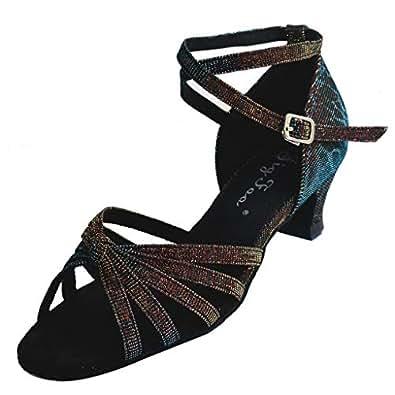 "Jig Foo Sandals Open-Toe Latin Salsa Tango Ballroom Dance Shoes for Girls with 1.2"" Heel,Blue Satin,1 B(M) US"
