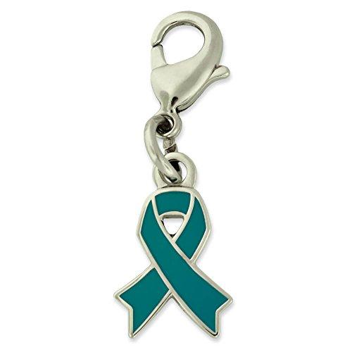 (PinMart's Teal Awareness Ribbon Enamel Charm)