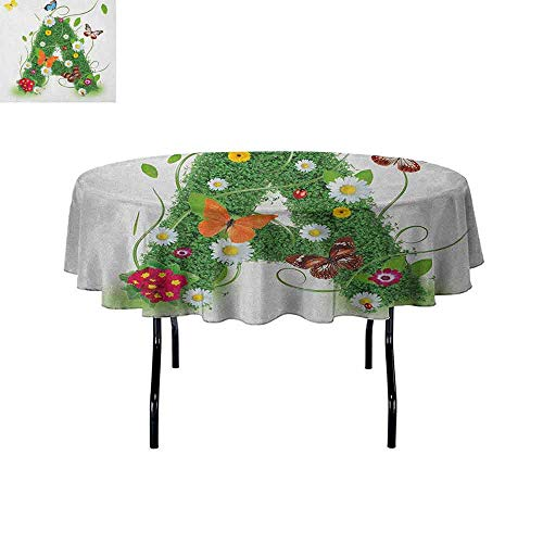 DouglasHill Letter A Printed Tablecloth First Letter of The Alphabet Natural Construction Green Leaves Butterflies Desktop Protection pad D35 Inch Green Multicolor ()