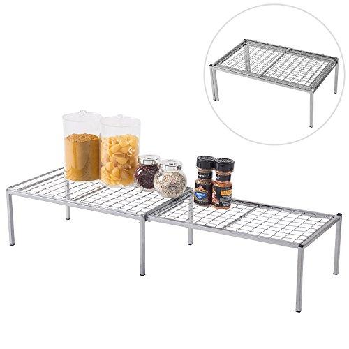 Expandable Metal Wire Frame Kitchen Counter Shelf, Cabinet Storage Rack Organizer, Silver - 30w Compact Shelf