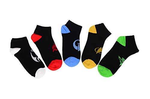 Star Trek The Next Generation Races Icon No-Show Socks, 5 Pack (Star Trek Icons)