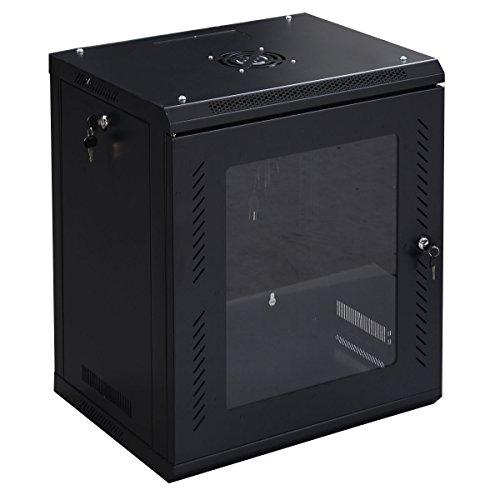 - Goplus 12U Wall Mount Network Server Data Cabinet Enclosure Rack Glass Door Lock
