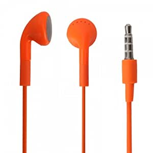 Orange 3.5mm Stereo Fashion Earphone Headsets with Microphone for Coolpad Quattro 4G (By Things Needed)