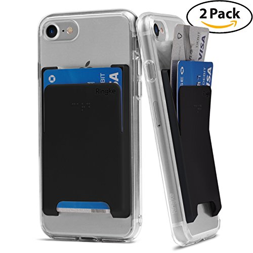Ringke Slot Card Holder [Black][2PACK] Adhesive Stick On Wallet Case Minimalist Slim Hard Premium Top Quality Credit Card Sleeve for iPhone 7, Samsung Galaxy Note 8, LG V30, Other Phone Case Accessory