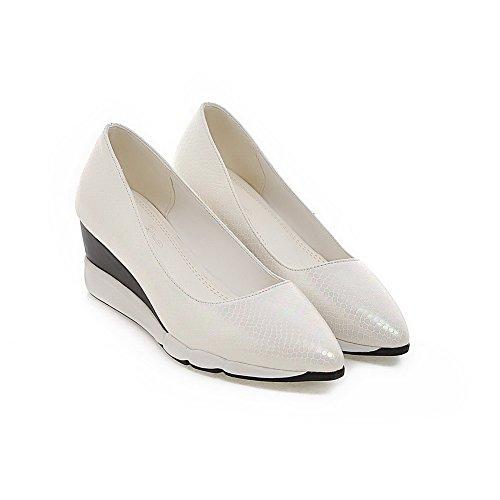 AgooLar Damen Rein Weiches Material Mittler Absatz Ziehen auf Spitz Zehe Pumps Schuhe Weiß