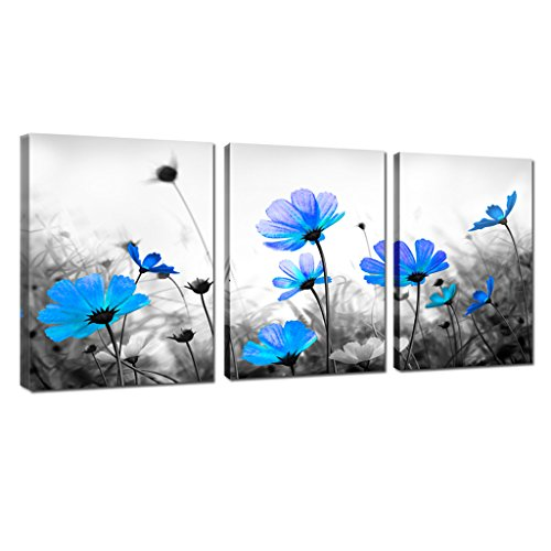Life Floral Paintings Still - Blue Cosmos Daisy Flower Canvas Art Prints Salon Theme Black and White floral Abstract Painting Still Life Wall Art for Home Decor Framed Ready to Hang (12x16inchx3)