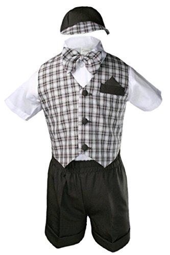 Unotux 5pc Boys Checks Gingham Eton Formal Brown Shorts Vest Set Suits Hat S-4T (M:(6-12 months))