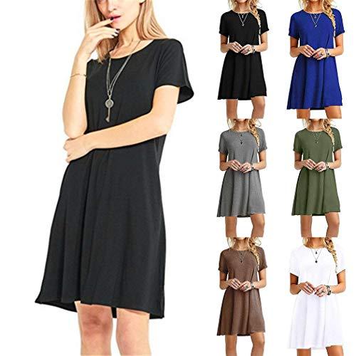 Women's Casual Plain Simple T-Shirt Loose Dress Black