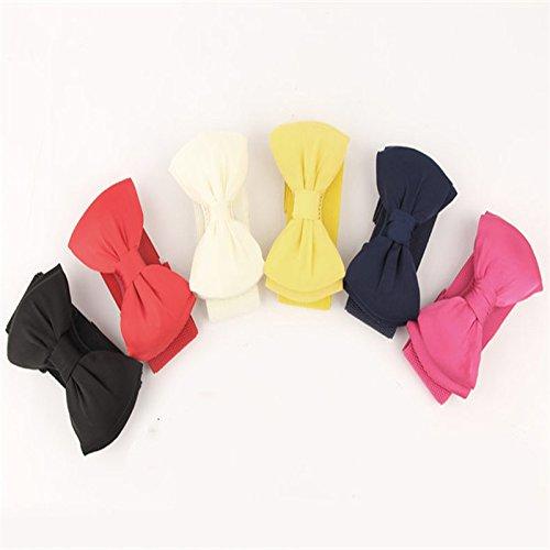 Fablcrew cintura da donna Fashion ampia Lastic Bowknot Bow Tie decorativo elastico in vita cintura rosso