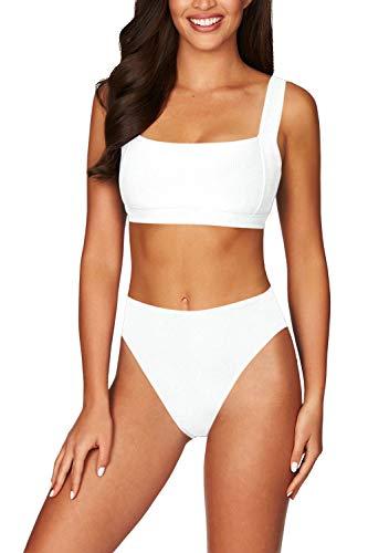 Elosele Ladies Scoop Neck Cheeky High Waist High Cut 2PCS Bikini Sets White L