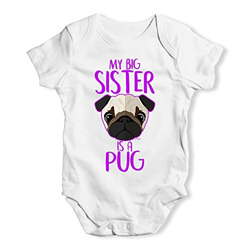 Funny Infant Baby Bodysuit Onesies My Big Sister is A Pug Baby Unisex Baby Grow Bodysuit 0-3 Months White]()