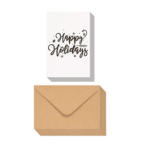 48 Pack Merry Christmas Greeting Cards Bulk Box Set   Happy Holidays Xmas Greeting Cards With Cursive Typographic Design  Envelopes Included  4 X 6 Inches