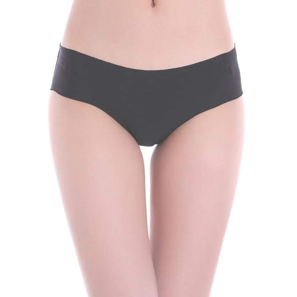 Qiujold Sexy Underwear for Women, Seamless Ice Silk Breathable Middle Waist Panties (XL, Black)