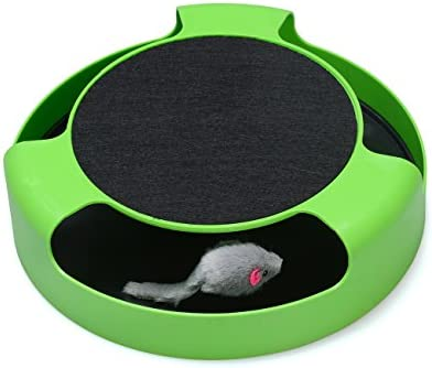 FYNIGO Cat Interactive Toys with a Running Mice and a Scratching Pad,Catch The Mouse,Cat Scratcher Catnip Toy,Green 2