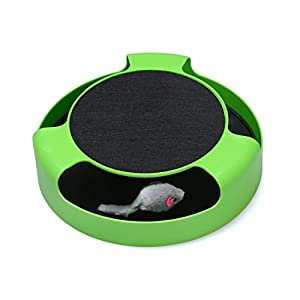 FYNIGO Cat Interactive Toys with a Running Mice and a Scratching Pad,Catch The Mouse,Cat Scratcher Catnip Toy,Green 40