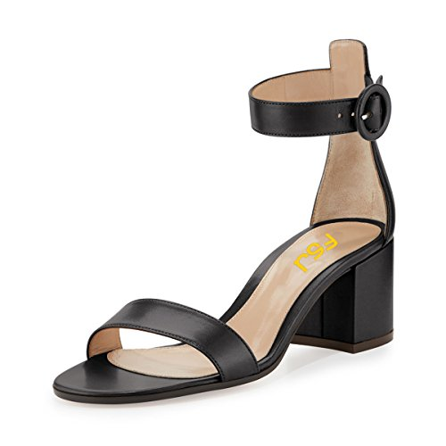 4 Comfort Elegant FSJ Heels Party Toe Size Black Evening Chunky Sandals Strap 15 Ankle Open Shoes Women US fznpRzUW6