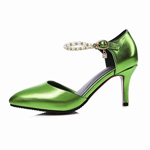 Carolbar Womens Pointed Toe Fashion Beaded Rhinestones Buckle Evening Party Stiletto Heel Dress Sandals Shoes Green p2jQA9TY