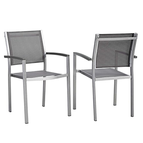 Modway EEI-2586-SLV-GRY-SET Shore Dining Chair Outdoor Patio Aluminum Set of 2 in Silver Gray, Two (Chairs Cheap Deck Buy)
