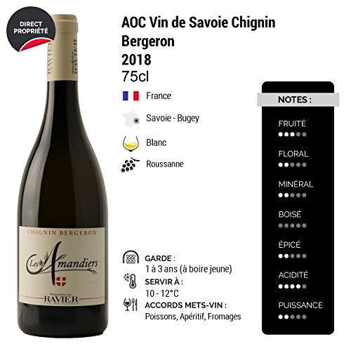 Vin-de-Savoie-Chignin-Bergeron-Les-Amandiers-Blanc-2018-Philippe-et-Sylvain-Ravier-Vin-AOC-Blanc-de-Savoie-Bugey-Cpage-Roussanne-Lot-de-12x75cl