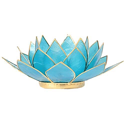 (FindSomethingDifferent Lotus Tea Candle Light Holder Capiz Shell Blue Chakra 5)
